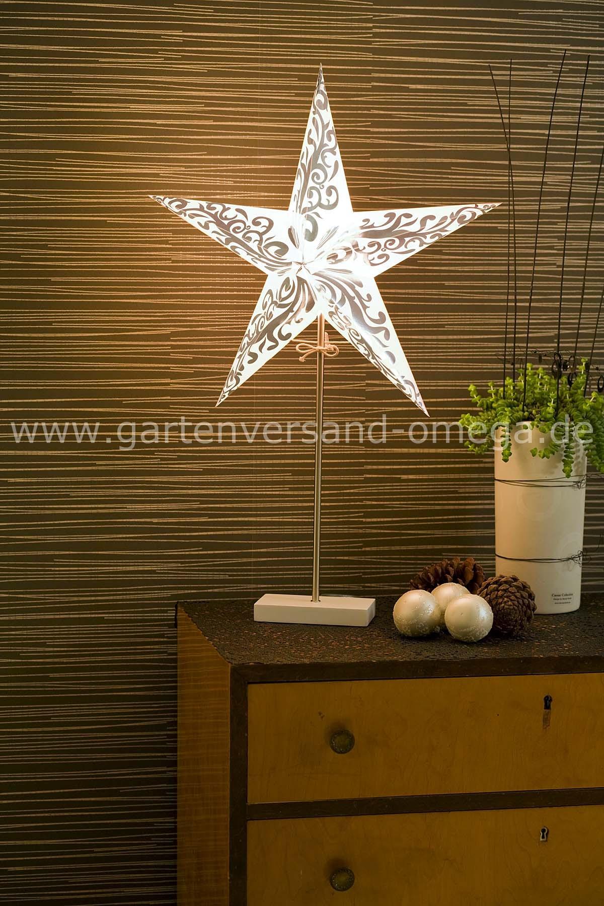 beleuchteter papierstern stehend wei silber weihnachtstischbeleuchtung edler deko stern. Black Bedroom Furniture Sets. Home Design Ideas