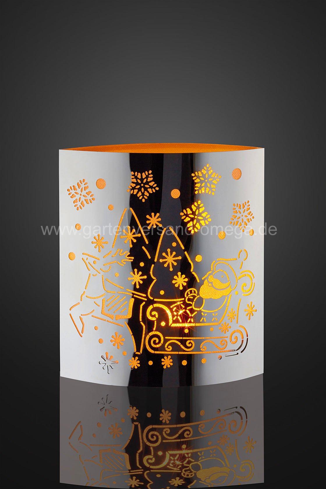 Led dekolicht aus metall mit schlitten gravur for Weihnachtsbeleuchtung batterie