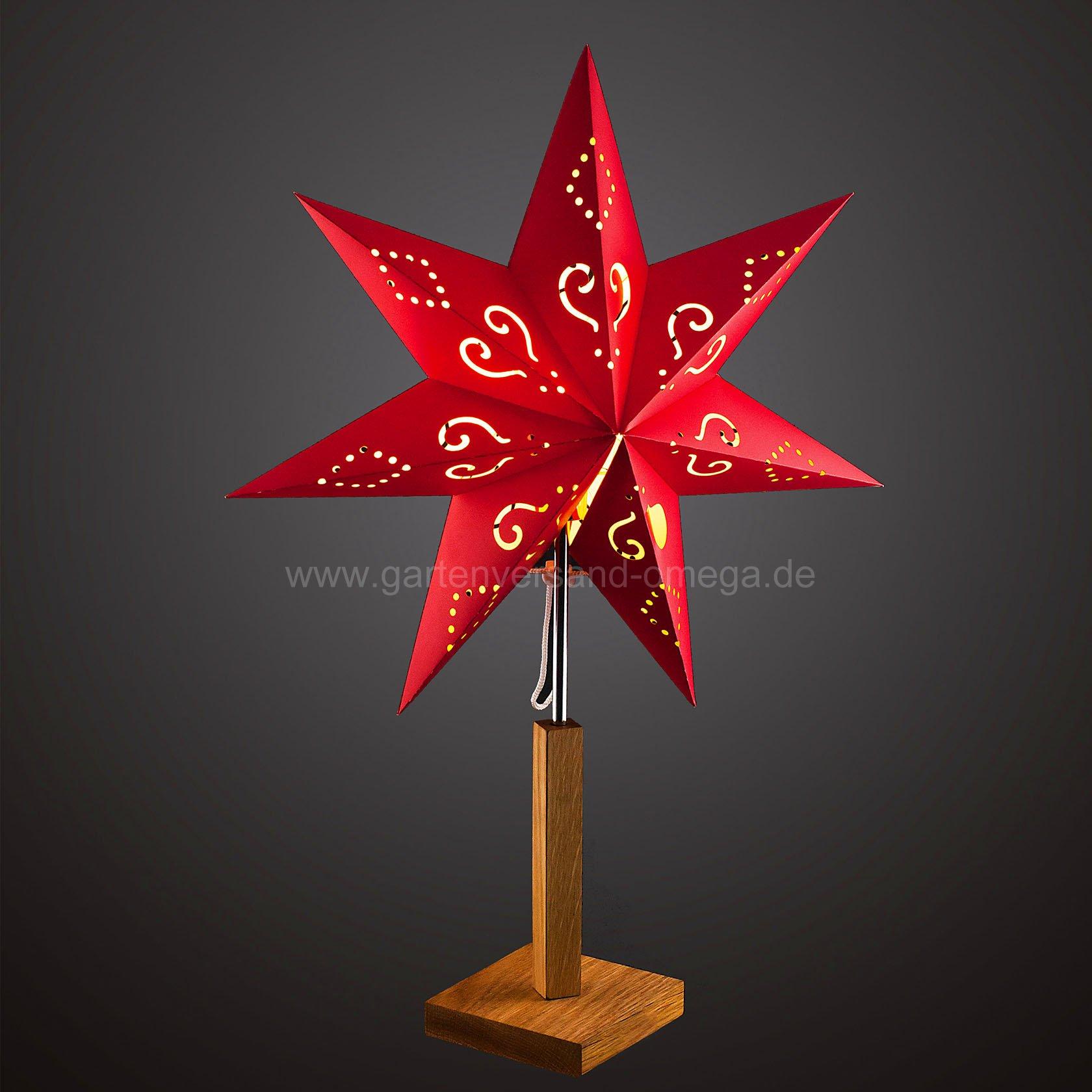 papierstern rot mit holzstandfu weihnachtsdekoration f r den tisch papierstern zum. Black Bedroom Furniture Sets. Home Design Ideas