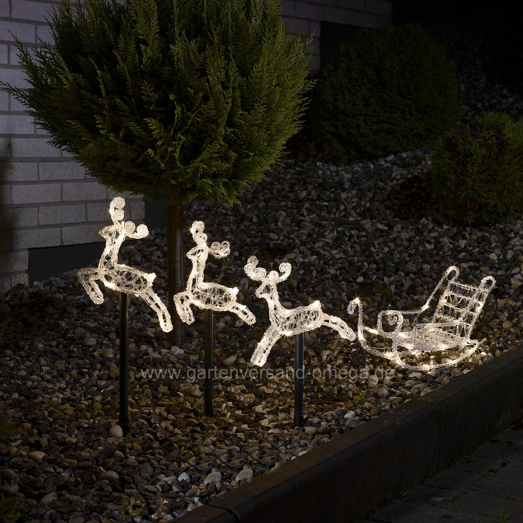 Led acryl set schlitten mit rentieren leuchtst be set - Weihnachtsbeleuchtung garten ...
