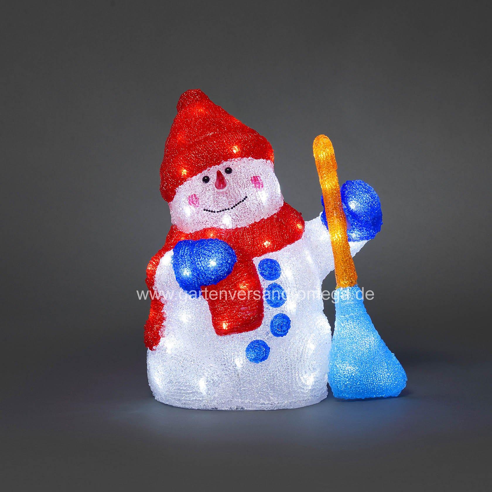 Led acrylfigur schneemann mit besen weihnachtliche for Dekoration schneemann