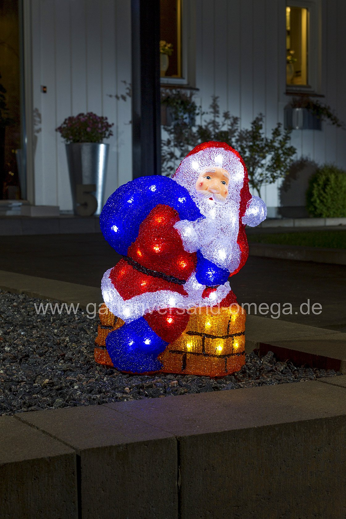 led acrylfigur weihnachtsmann mit schornstein acryl weihnachtsmann 3d figuren weihnachten. Black Bedroom Furniture Sets. Home Design Ideas