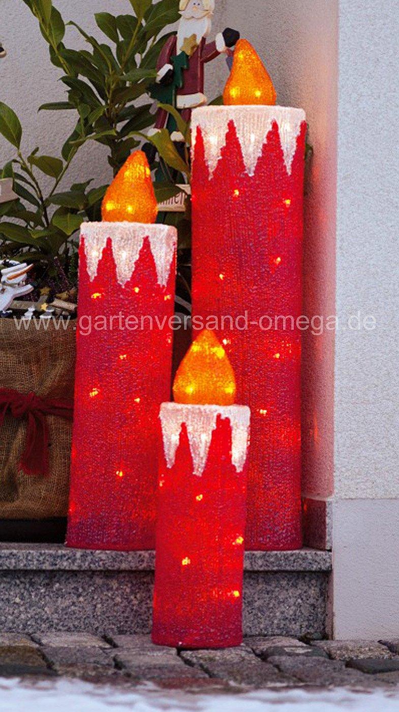 led weihnachtsau enbeleuchtung acryl kerzen set. Black Bedroom Furniture Sets. Home Design Ideas
