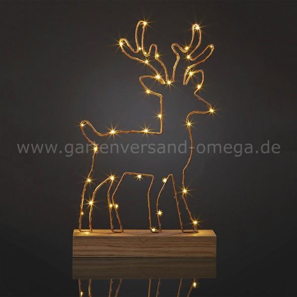 LED Rentier auf Holzpodest