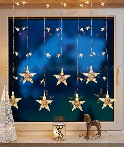 LED Sternenvorhang Warm-Weiß - Weihnachtsbeleuchtung am Fenster