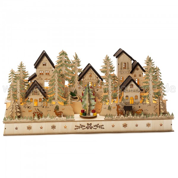 LED-Holzsilhouette Haus und Figuren