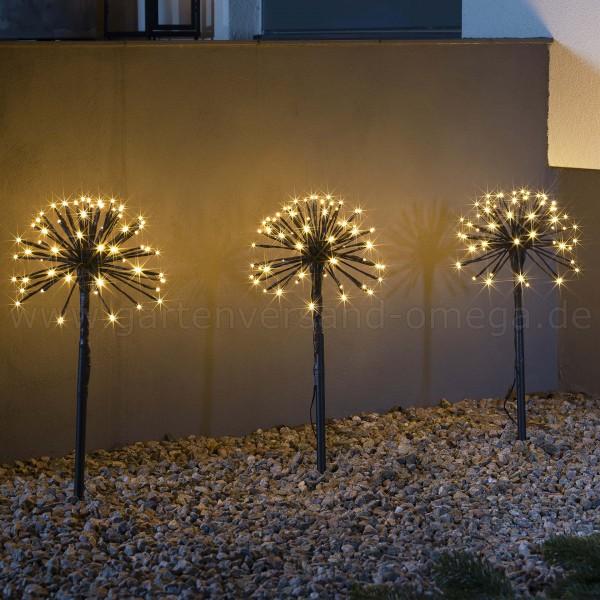 LED-Spießleuchte mit 3 Pusteblumen - LED-Pusteblume Leuchtstäbe