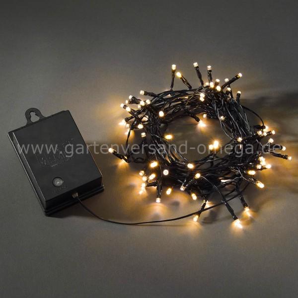 Batteriebetriebene Lichterkette für Außen Bernsteinfarben 80-flammig