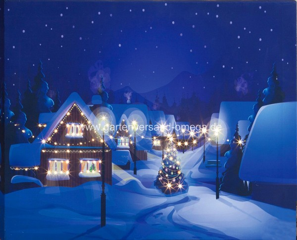LED-Bild Dorf im Winter