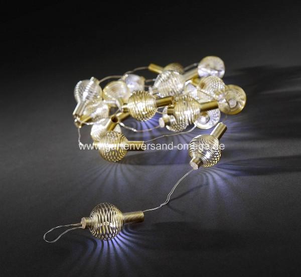 LED-Dekolichterkette goldene Metallbälle