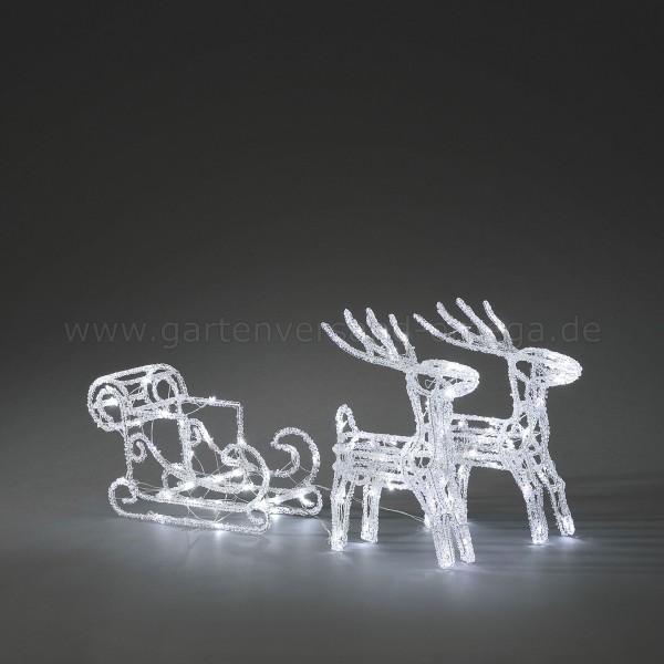 LED Acryl-Set Schlitten mit 2 Rentieren Kalt-Weiß