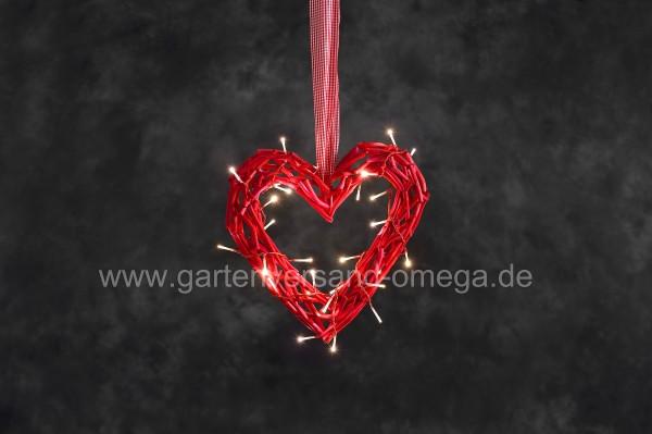LED-Holzsilhouette Herz Rot