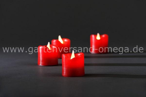 LED-Wachskerze 4er Set Rot