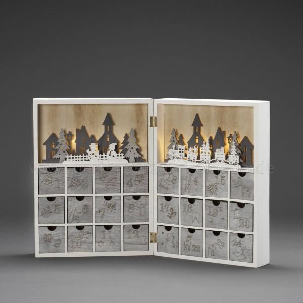 LED-Holzsilhouette Adventskalender - beleuchteter Adventskalender aus Holz