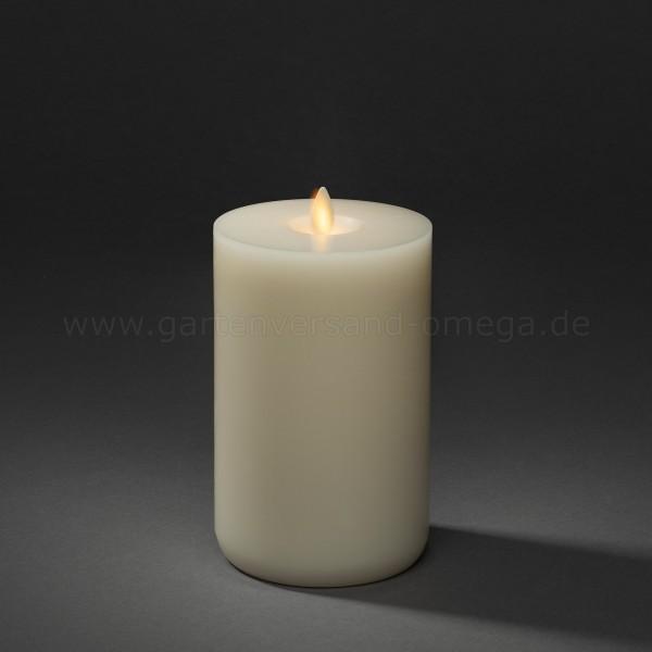 LED-Echtwachskerze cremeweiß mit Duft und Docht zur Flamme Funktion 18,2cm