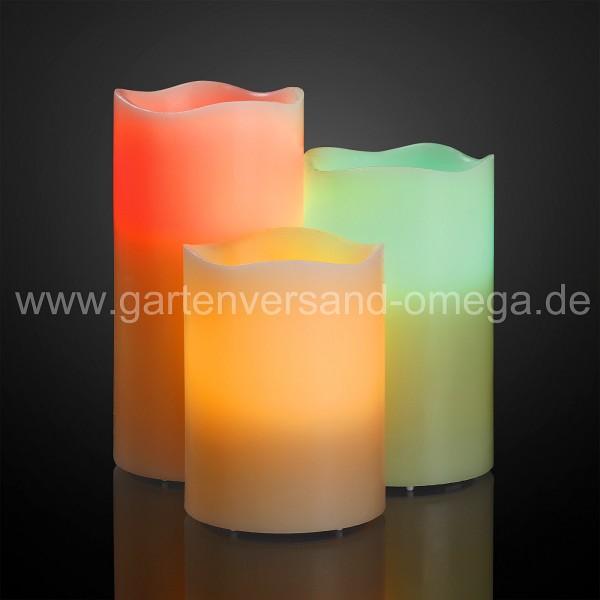 LED-Farbwechsel-Echtwachskerzen Set mit Fernbedienung