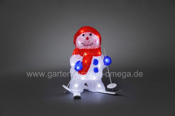 LED Acrylfigur Schneemann mit Ski