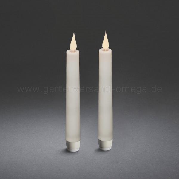 LED Stabkerze mit 3D Flamme Fernbedienbar 2er Set