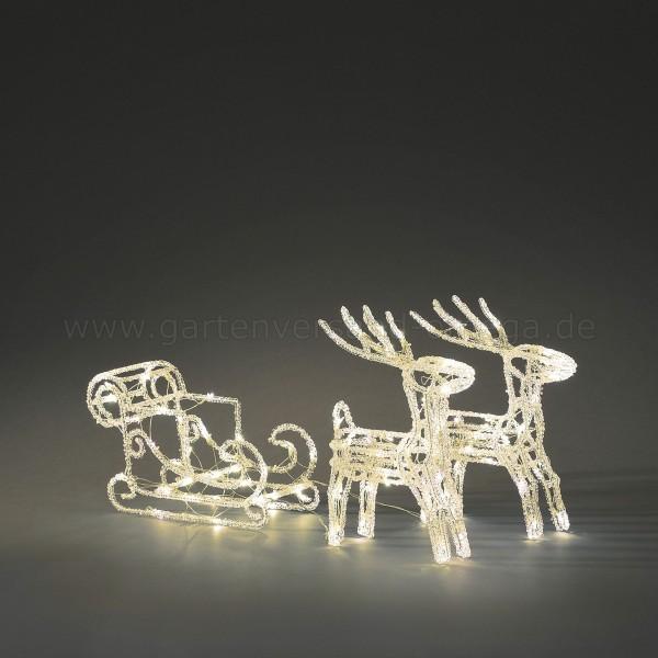 LED Acryl-Set Schlitten mit 2 Rentieren Warm-Weiß
