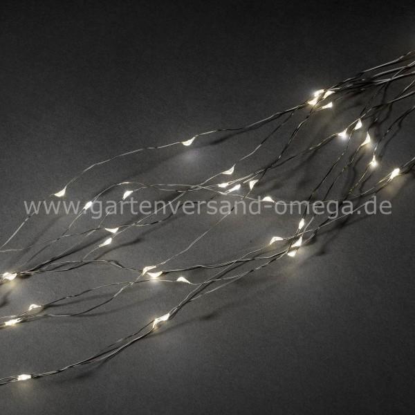 LED Tropfenlametta Silberdraht