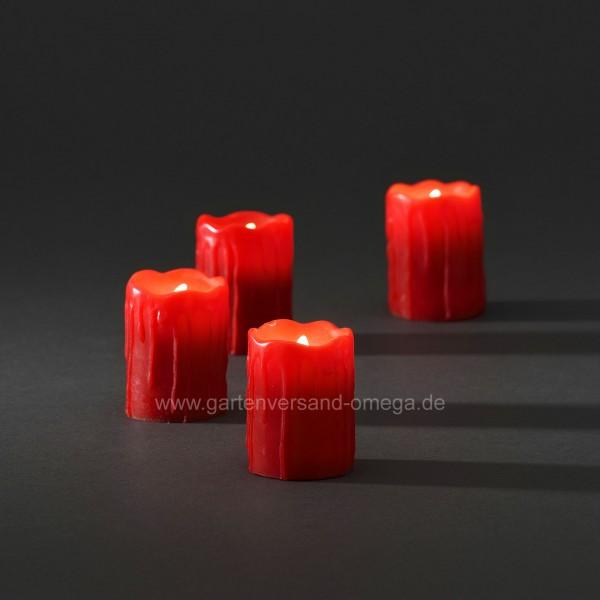 LED Echtwachskerzen zerlaufende Wachsoptik Rot