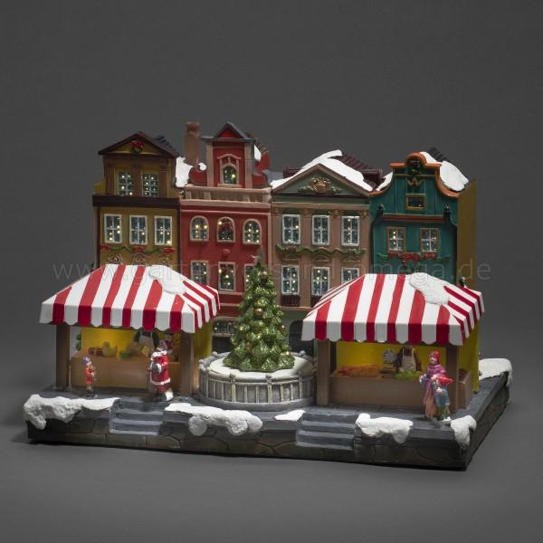LED-Fiberoptikhaus Stadtszene mit rotierendem Weihnachtsbaum