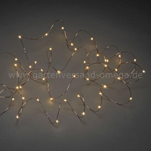 LED Tropfenlichterkette Bernsteinfarben mit kupferfarbenem Draht