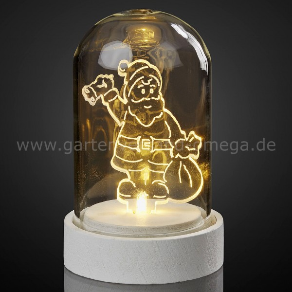 LED-Glasglocke mit Acryl-Weihnachtsmann