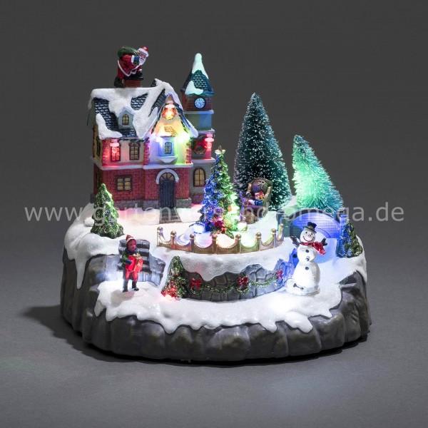 LED Szenerie Wohnhaus mit Weihnachtsbäumen