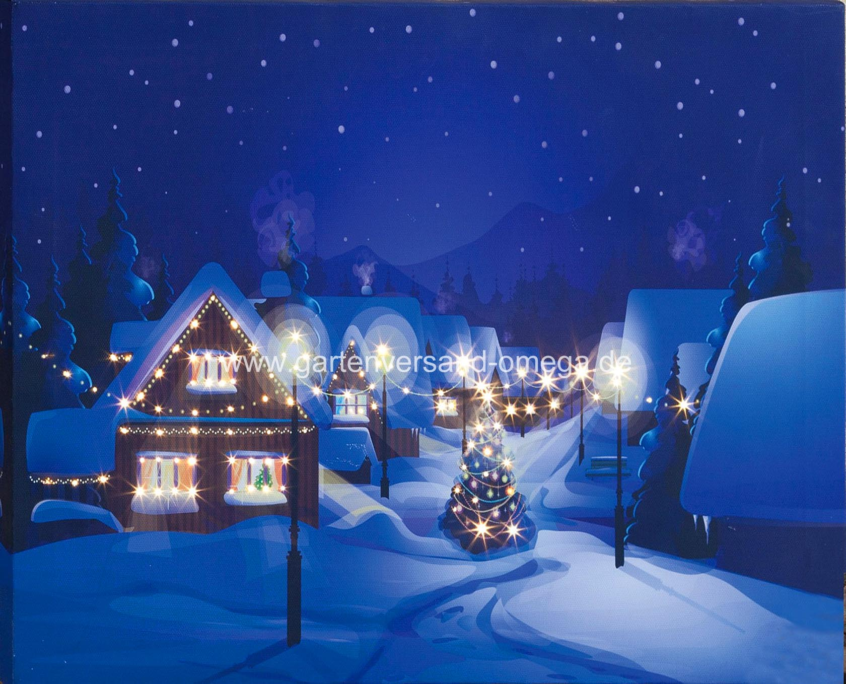 led bild dorf im winter fiberoptikbild beleuchtetes bild weihnachts wandschmuck led bild. Black Bedroom Furniture Sets. Home Design Ideas