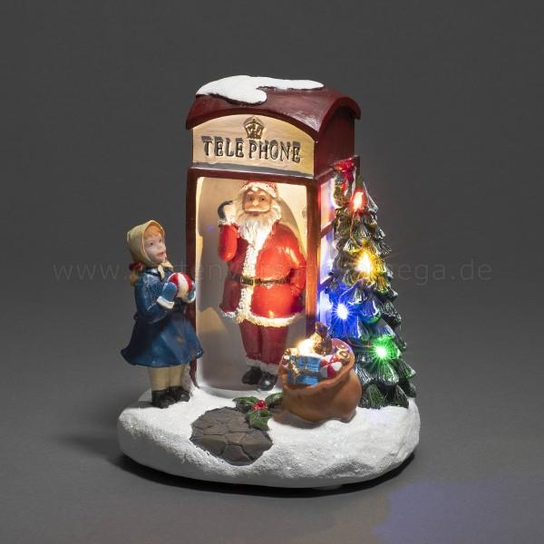 LED-Szenerie Weihnachtsmann in Telefonzelle