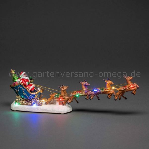 LED-Weihnachtsdeko Weihnachtsmann mit Schlitten und Rentieren