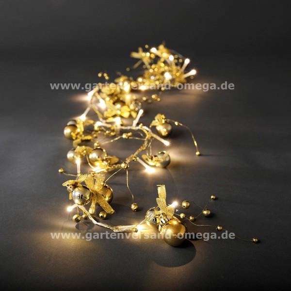 LED Dekolichterkette mit Perlen und Schleifen Gold