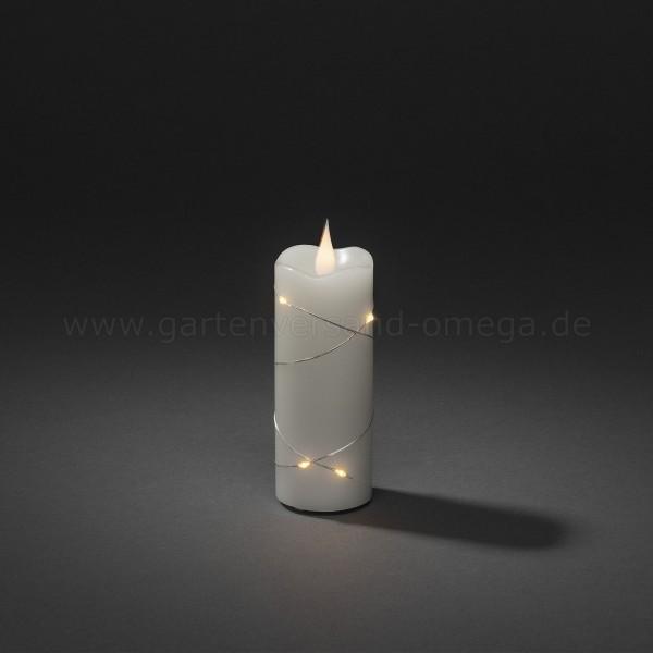 LED-Echtwachskerze mit silberfarbenem Draht und 3D-Flamme 12,7cm