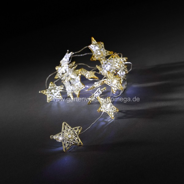 LED Metallsternlichterkette Golden