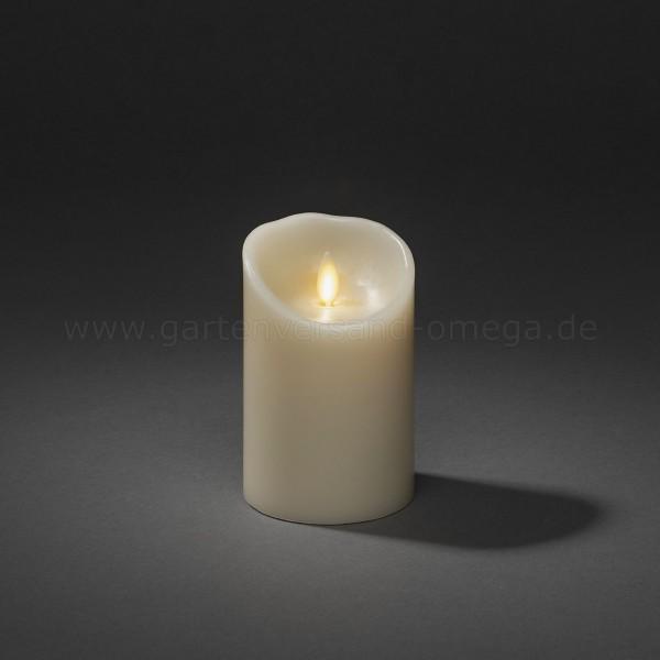 LED-Echtwachskerze cremeweiß mit geschmolzener Kante fernbedienbar 11,4cm