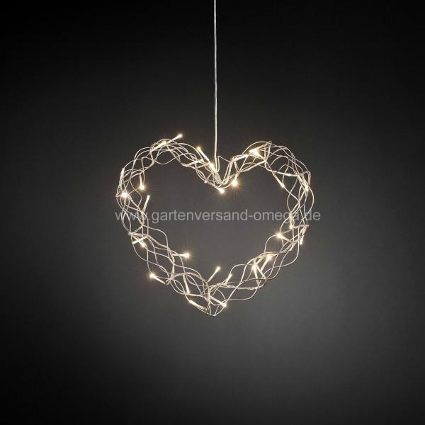 LED-Metallsilhouette Herz Silber