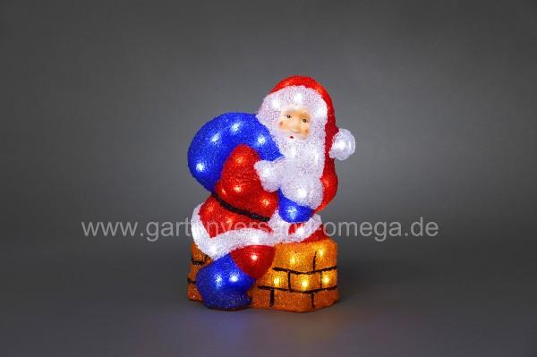 LED-Acrylfigur Weihnachtsmann mit Schornstein