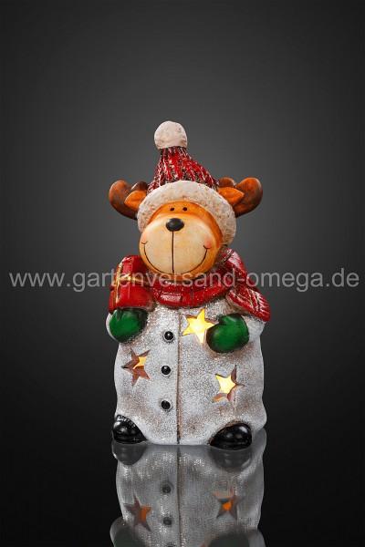 LED-Keramik-Rentier mit Schal und Geschenk