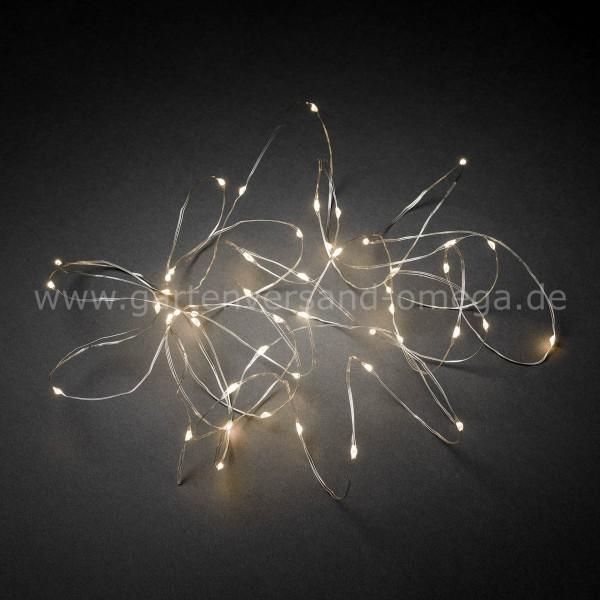 LED Tropfenlichterkette Silberdraht Warm-Weiß