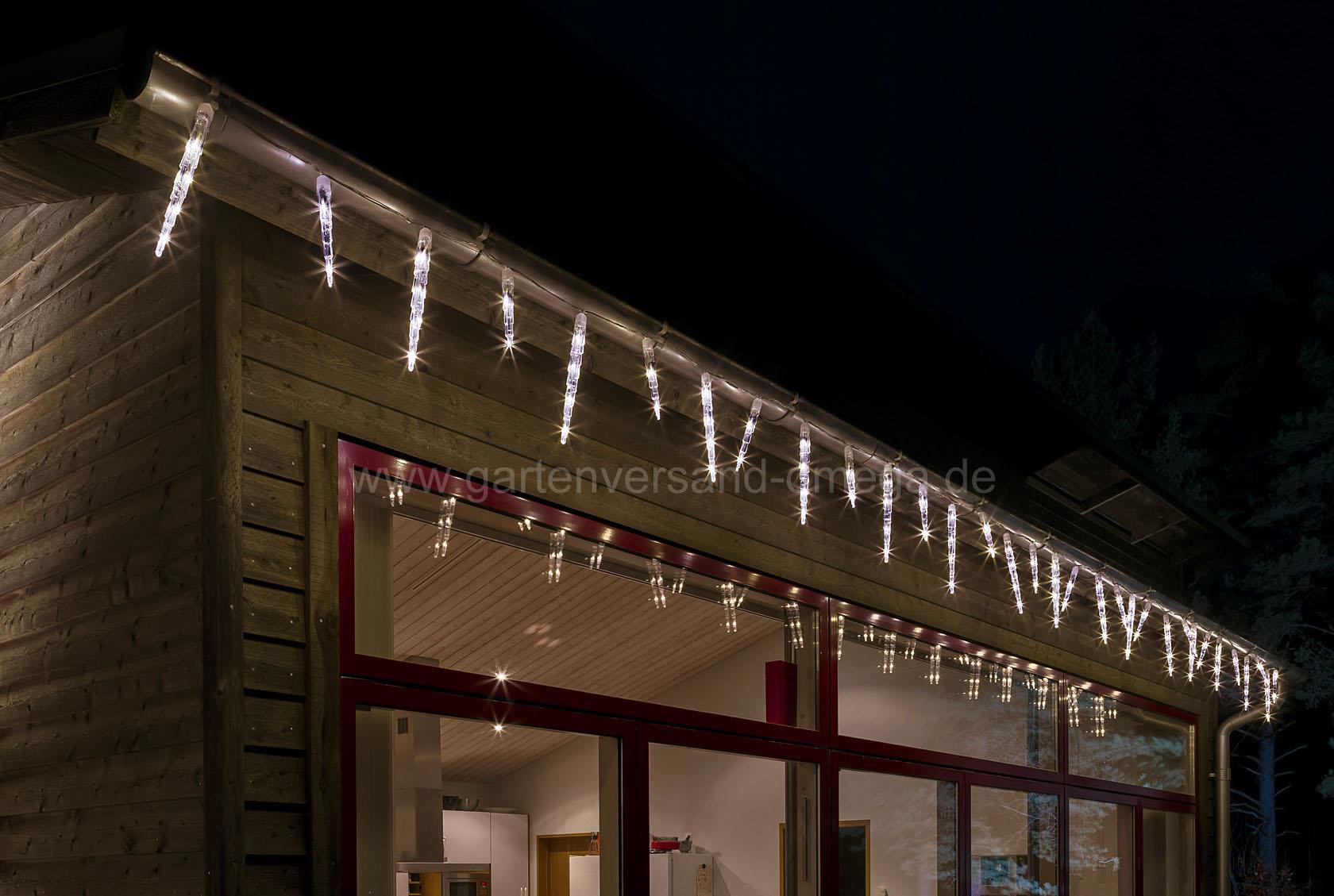 Led eiszapfen lichtervorhang mit lichtfunktionen dachrinnenbeleuchtung gartenhaus weihnachten - Fensterbeleuchtung innen ...