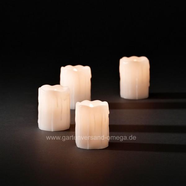 LED Echtwachskerzen zerlaufende Wachsoptik Weiß