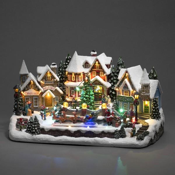 LED-Szenerie Häuser mit bewegtem Rentierschlitten