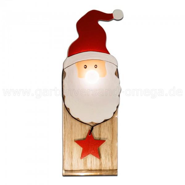 LED Holz-Weihnachtsmann mit leuchtender Nase - Weihnachtsbeleuchtung am Fensterbrett