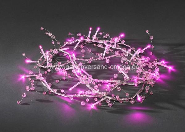LED-Dekolichterkette Rosa mit Perlen