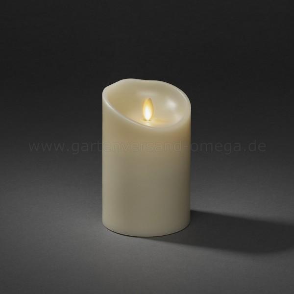 LED-Echtwachskerze Breit cremeweiß mit geschmolzener Kante 13,4cm