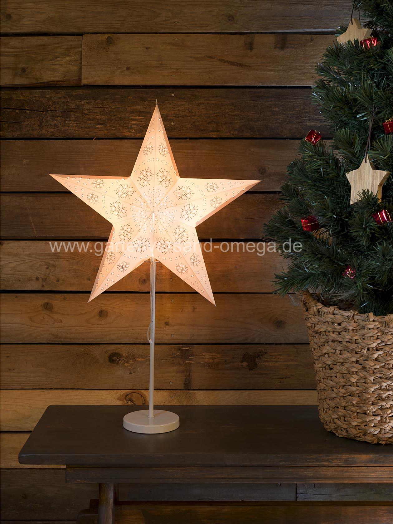 beleuchteter papierstern wei mit metallfu weihnachtstischbeleuchtung edler deko stern. Black Bedroom Furniture Sets. Home Design Ideas