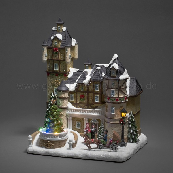 LED-Fiberoptikhaus Burgszene mit rotierendem Weihnachtsbaum