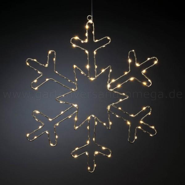 Micro-LED Silberschneeflocke - Fensterdekoration für Weihnachten