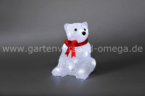 LED Acryl-Eisbär mit roter Schleife